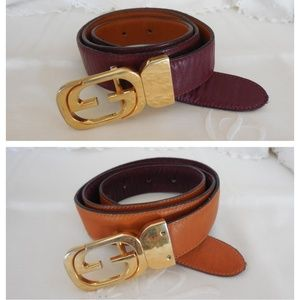 GUCCI~Tan/Maroon GG BUCKLE Reversible Leather Belt